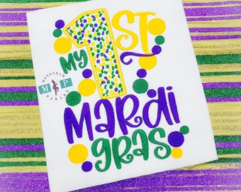 First Mardi Gras Shirt, Bodysuit or bib - Baby's First Mardi Gras - Boys First Mardi Gras - 1st Mardi Gras