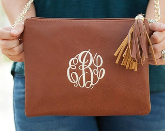Cross body Clutch - Monogram Crossbody Purse - Leather cross body