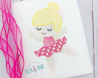 Ballerina shirt or bodysuit - Ballerina -  Ballerina Birthday - Baby Ballerina - Dance Birthday - Sketch Embroidery - Dance recital