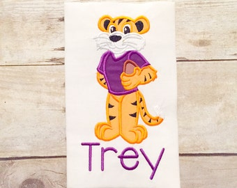 Purple and gold Tiger Mascot Football Player shirt or bodysuit - Boys Gameday shirt - LSU Inspired - SEC Football - Boys football shirt