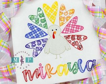 Girls Turkey Shirt - Gobble - Thanksgiving turkey - leopard print turkey - rainbow turkey