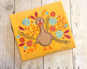 Girls Turkey Shirt - Monogrammed Turkey - Thanksgiving Shirt - Floral turkey