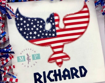 American Eagle Shirt - July 4th -Memorial Day - Boys 4th of July Shirt - Bald Eagle - American Flag