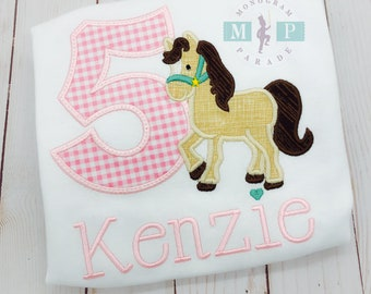Girls horse Birthday Shirt - farm birthday - pony - horse appliqué