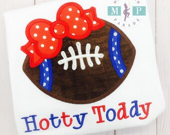Football Cheer Applique,  Football Applique, Team Spirit Applique, Rebel Football, Blue and Red, Girls football shirt
