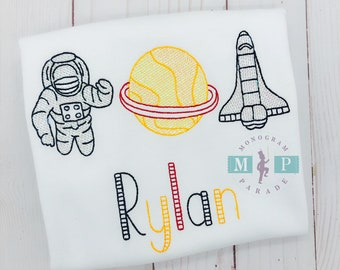 Outer Space - Astronauts - Space Ship Bodysuit or Shirt