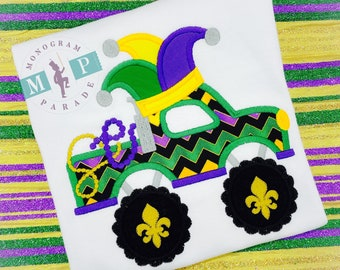 Boys Mardi Gras shirt - Monster Truck - Personalized- Fat Tuesday - Mardi Gras - 1st Mardi Gras - Jester Hat- Mardi Gras King