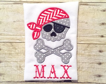 Pirate Skull and Cross Bones Shirt or Bodysuit - Baby Pirate - Pirate Shirt - Skull and Crossbones - Walk the Plank - Pirate Birthday