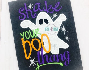 Shake your boo thang - 1st halloween shirt - first halloween - ghost - halloween monogram - baby halloween - Boo - Ghost appliqué