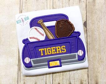 Boys Baseball Truck Shirt or Bodysuit - Tiger Baseball Truck - Baseball shirt - monogram truck - monogram baseball