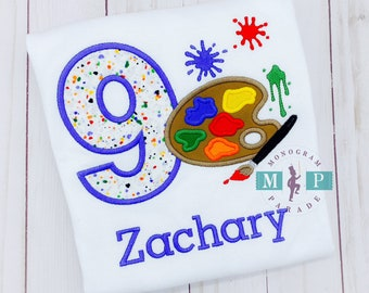 Boy Birthday Artist - Painting - Any age - Artist palette - Birthday paint party - Paint Brush - Canvas