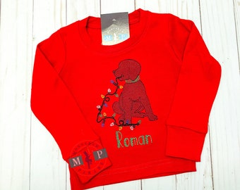 Boys Christmas Shirt - Christmas Puppy Dog - Sketch Embroidery - Dog with lights - Dog with collar - Monogram Christmas Shirt