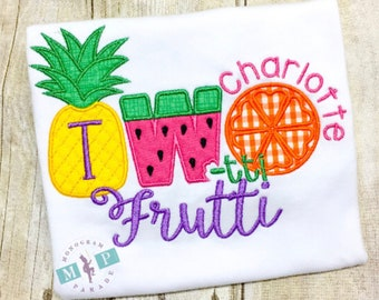 Two-tti  Frutti Birthday Shirt or bodysuit - Personalized - Fruit