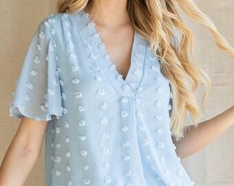Swiss Dot Pattern Flounce Sleeve Top
