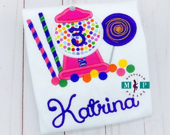 Girls Candy Birthday Shirt or bodysuit - Candy birthday - candy land - gumball machine - lollipop