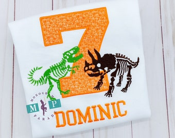 Dinosaur Birthday Shirt - TRex Shirt - Dinosaur Birthday - Dinosaur Shirt - Boys Birthday - Monogram Dinosaur - Dino bones