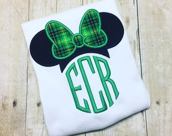 Miss Mouse Monogram Shirt - St. Patricks Day Miss Mouse - Girls St Patricks Shirt or Bodysuit - St. Paddy's Day