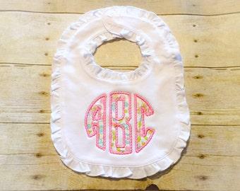 Monogrammed Baby Bib - Beaded Baby Bib - Paisley Bib - Ruffle Bib - Baby Girl - Baby Shower Gift - Baby Girl Bib