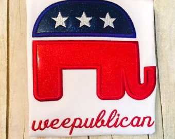 Girls Glitter Weepublican Shirt or bodysuit - republican elephant - election shirt