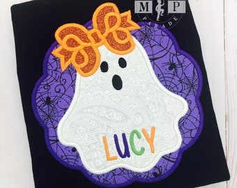 1st halloween shirt - first halloween - ghost - halloween monogram - baby halloween - Boo - Ghost appliqué - ghost with bow