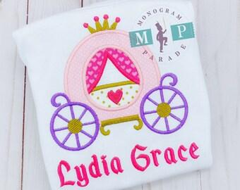 Girls Princess Shirt - Princess Birthday Shirt - Tiara - Crown - Monogram Princess Shirt - Princess Carriage