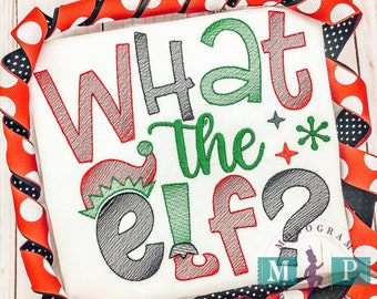 What the Elf - Elf - Boys Christmas Shirt - Sketch Embroidery - Santa helper Shirt
