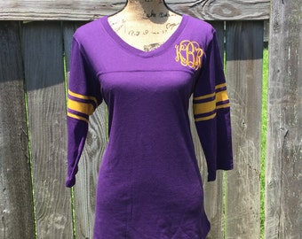 Ladies Monogrammed 3/4 Sleeve Spirit Shirt - Ladies Football Tee - Ladies Football Jersey
