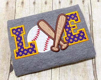 Purple and Gold Baseball Raglan Shirt - Baseball Love Appliqué - Girls Baseball Shirt - Girls Raglan Shirt