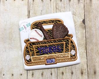 Girls Baseball Truck Shirt or Bodysuit - Tiger Baseball - Girls baseball shirt - Tiger Truck - Baseball Truck