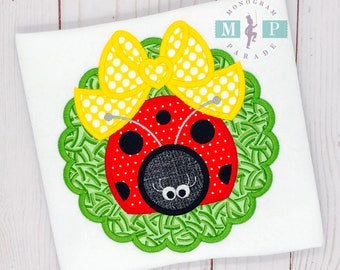 Ladybug applique - girls ladybug shirt - springtime - bug out - bow appliqué