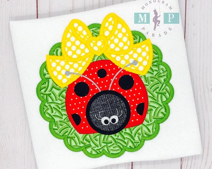 Featured listing image: Ladybug applique - girls ladybug shirt - springtime - bug out - bow appliqué