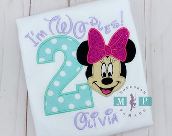 Miss Mouse Second Birthday Shirt - Twodles - Oh Toodles - Miss Mouse 2nd Birthday- Teal, Purple, Pink
