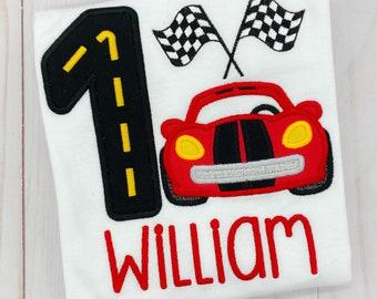 Boys Race Car Birthday Shirt or Bodysuit - Racing Birthday - Racecar - Go cart - Checkered Flag