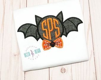 Boys Monogrammed Halloween Bow tie Bat Shirt or Bodysuit - Halloween Shirt - Bat - Trick or Treat