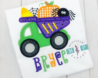 Halloween Dump Truck Shirt, Boys Halloween Shirt, Halloween Dump Truck carrying Spider, Pumpkin and Candy Corn Shirt
