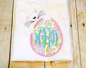 Peeking Easter Bunny Bodysuit or Shirt - Easter Egg - Easter Bunny - Monogrammed Easter Egg - Personalized Easter Shirt
