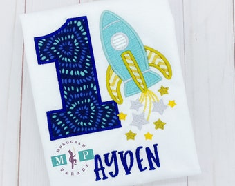 Boys Space Birthday Shirt- Rocket - Space Shuttle - Rocket Ship - USA - outer space - First Trip around the sun