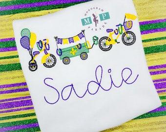 Girls Mardi Gras Shirt - Bicycle - Wagon - Beads -Personalized - Parade
