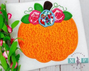 Girls floral pumpkin - fall shirt - thanksgiving shirt - girls pumpkin shirt - pumpkin patch - pumpkin appliqué - flower pumpkin