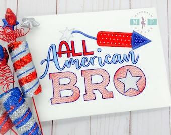 Boys 4th of july Shirt or Bodysuit - 4th of July - Fourth of July - All american bro - Stars and stripes - Rocket