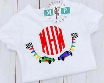 Boys Race Car Shirt or Bodysuit - Racing - Racecar - Go cart - Checkered Flag - monogram frame