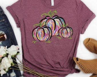 Colorful Pumpkins - Screenprint transfer - Fall - Autumn