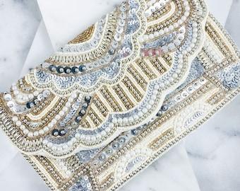Barlett Embellished Bag With Scalloped Edge Ivory - beaded clutch - formal bag - roaring 20's - bridal clutch