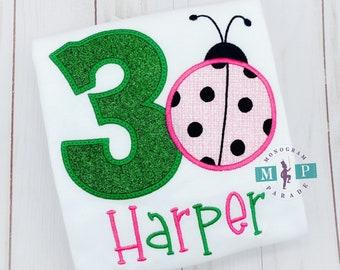 Girls Lady Bug Birthday Shirt - Ladybug Birthday - Zoo Birthday - Animal Birthday