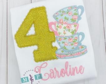 Girls Teacup Birthday Shirt - Par-tea - High Tea - Tea Party - Floral teacup - Glitter Birthday - tea for two