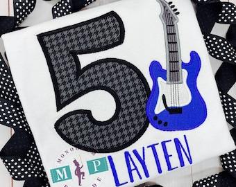 Boys Rock Star Birthday shirt - Music Birthday - Electric guitar - Rock and Roll - Ready to rock