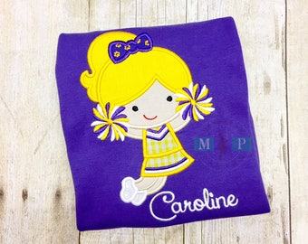 Purple and Gold Cheerleader Shirt or Romper - Jumping Cheerleader - Tiger Cheerleader