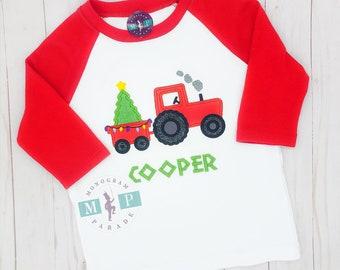 Christmas Tractor Raglan - Xmas tree - Red Raglan- hauling tree