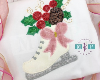 Ice Skating - winter sport - figure skating - skating boot- holly berry skate - girls christmas shirt - glitter christmas
