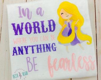 Girls Princess Be Fearless Bodysuit or Shirt- Purple Princess - Fearless